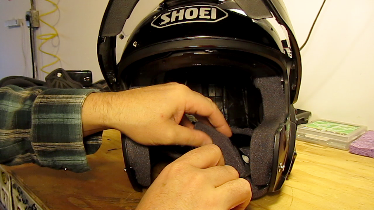 Motorcycle Helmet Intercom Wiring For Speakers And Earbuds Audio Lining Up Mic Install Cheek Pad